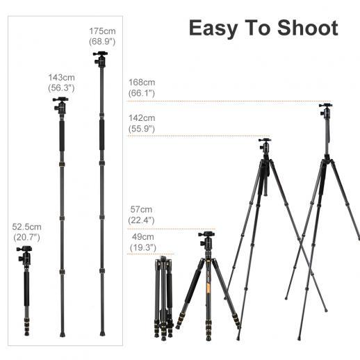 TC2534 Carbone Trépied Monopode Kit pour Canon Nikon Appareil Photo Reflex Caméra
